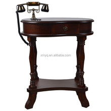 Antique Hand Painted Brown Wood Telephone Table, Antique Telephone Table