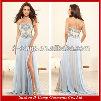 OC-065 Flowy 2014 sexy side slit prom dresses strapless online prom dress shopping