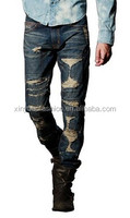 2014 latest design pictures of ripped jeans for man in slim straight leg tight damaged jean pants