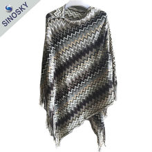 Hot selling high quality new design wool poncho wholesale