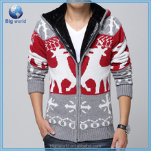 BIGWORLD 2015 Sweater men zipper hooded sweater & men knit coat winter christmas cardigan sweater