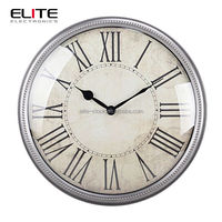 Quartz metal wall clock in antique style
