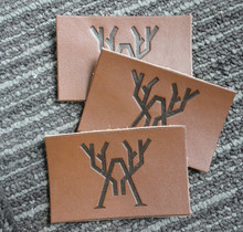 Logo Embossed Genuine and PU Material Custom Leather Label for Clothing