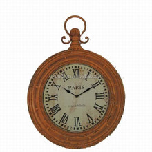 Retro style vintage wall clock with rustic