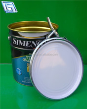 18 litre paint bucket with lock ring cover and metal handle for paint