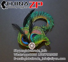 Fashionable plume hair Accessory Black Fascinator Peacock Feather Hair Clip