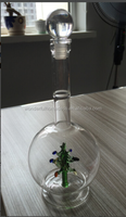 art wine bottle with christmas tree/christmas tree wine bottle/christmas tree gift bottle