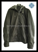 men's PU jacket with jersy hood