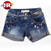 Beautiful stones trim sexy women's hot jean short denim pants for girl aslo
