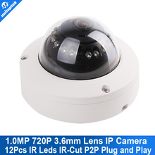 HD 720P Glass Dome For Camera With 12pcs IR IP mini Dome Camera ONVIF 2.3 indoor / outdoor IR-CUT NightVision P2P Plug and Play