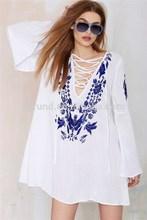 La moda más tamaño largo blanco mujeres blusa para el verano bordar verano grande blusa
