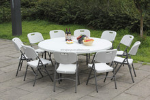 180 cm white plastic folding outdoor round table