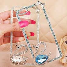 Cell phone accessories swan Diamond jewelry rhinestone bling phone case for iphone 6 jewelry cases