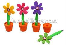 Hot sale promotional plastic sun flower pens with pot