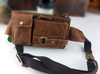 China supplier real leather Waist Bag brown lightweight running waist bags for Iphone 6