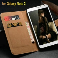 Genuine leather luxury phone case cover for Samsung Galaxy Note 3 lovely wallet function with 2 card slots and 1 bill site