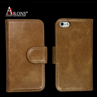 Folio opening top grain leather case wallet for iphone