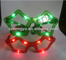 Hot selling Crazy funny club amazing plastic LED flashing luminous/fluorescent star shape party glasses