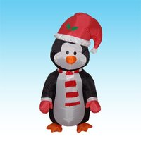 DJIU Lighted Inflatable 4' Penguin Yard Display Decor 48inch Air Blown Christmas ornament
