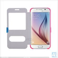 Cheap Price Window View Leather Case for Galaxy S6, For Samsung Galaxy S6 Leather Cover Case With Magnetic Clip Flip Cover