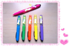 2015 Hot plastic highlighter pen with sticky note CH-6350, unique Multi-fonction highlighter