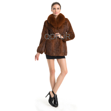 QD70714 Women Winter Short Clothes Rabbit Fur with Fox For Collar Coat Waistcoat in Elastic