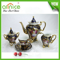 Turkish Golden Porcelain Coffee Set sugar pot /coffee tea sets/coffee cup set and saucer