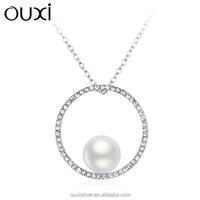 OUXI fashion new design circle 925 silver pendant real pearl necklace price Y10012