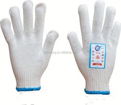 7/10 gauge white knitted cotton gloves manufacturer in china/fabric glove cutting