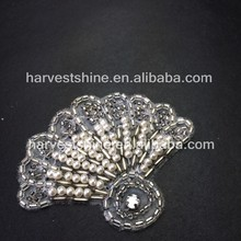 Lovely beaded pearl applique,scalloped fan pattern patch,bridal appliques