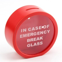 12cm Red In Case Of Emergency Break Glass Coin Piggy Bank Money Saving Box Case