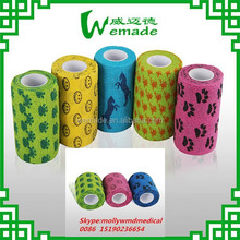 Non woven surgical animal cohesive bandage dog bandage with pattern printed