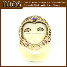 High quality Antique brass White resin ring jewelry
