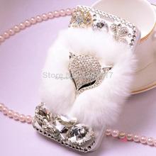 Crystal diamond Plush fox leather phone bag case cover for Samsung Galaxy S4 i9500