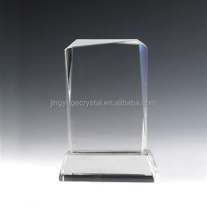 Diamond Cut Rectangle Crystal Trophy Award