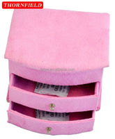 house pink velvet storage jewelry case with wirror