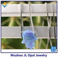 10pcs Free Shipping Synthetic Opal Hamsa Gemstone With 925 Silver Box Chain Necklace With High Quality