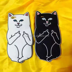 Hot 3D Midfinger Pocket cat Silicone Phone Case for samsung galaxy a8 back cover