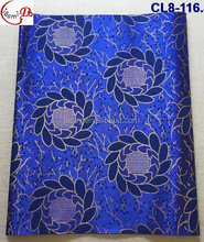 CL8-116 dark blue African beautiful flower pattern embroidery Sego headtie gele headwear wrap
