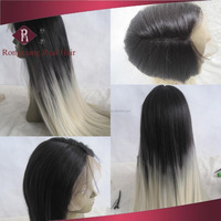 Heat Resistant Synthetic Hair Two Tone Lace Front Long silver white wig