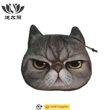 New Style Cute Gray Cat Face Zipper Case Coin Kids Purse Wallet Makeup Bag Pouch