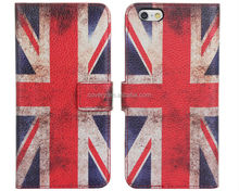 Fashion design 2015 flag wallet leather case with stand for apple iphone6s