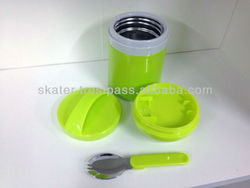 Stailess steel thermo lunch pot with three container thermal bento box