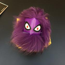 100% Real Raccoon Pom Pom Monster Fur Metal Keychain