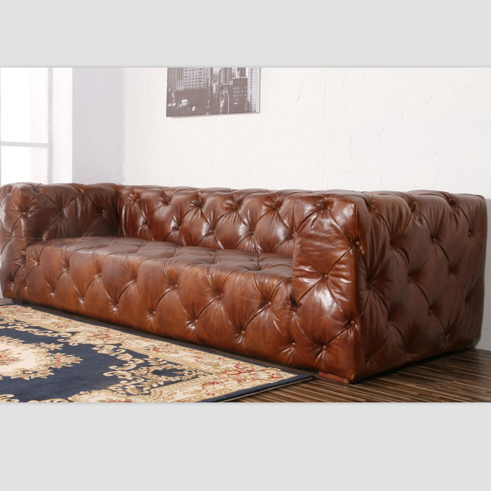 soho tufted leather sofa images