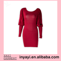 Bulk Wholesale Women Girl Lady Prom Dresses Backless Puff Long Sleeve Red Bodycon Mini Dress