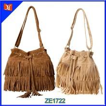 Drawstring Suede Bag Trend Leather Tassel Handbag Alibaba Top Grade Handbag Accessories Beautiful Girl Leather Shoulder Handbag