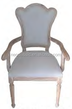 Classic Elegant Wooden Italian Throne Back Dining Chairs with ARMREST