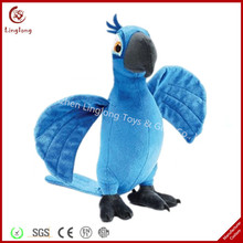 Guangdong factory customized stuffed birds 12 inches blue plush bird toy with embroidery