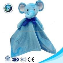 Wholesale animal head plush blue elephant baby comforter blanket cute soft plush baby blanket
